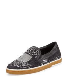 Grove Men's Frayed-Denim Slip-On Sneaker, Black