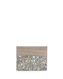 Paint-Splatter Leather Card Case, Gray