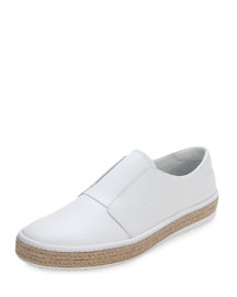 Leather Slip-On Espadrille, White