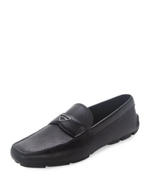 Saffiano Leather Loafer, Black