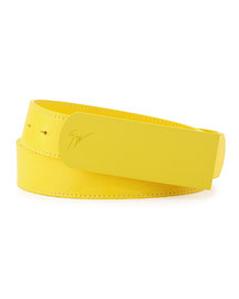 Men's Leather Matte-Buckle Belt, Yellow