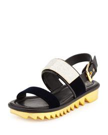 Men's Velvet-Strap Sandal, Navy