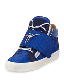 Logo Strap Embossed Leather Mid-Top Sneaker, Blue