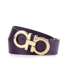 Large-Gancini Buckle Belt, Purple