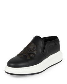 Mesh-Skull Leather Skate Shoe, Black