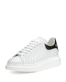 Perforated-Star Leather Low-Top Platform Sneaker, White