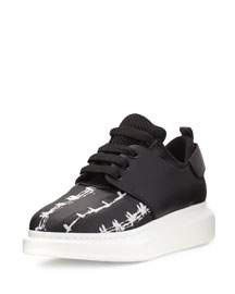 Leather Low-Top Sneaker with Harness, Black/White