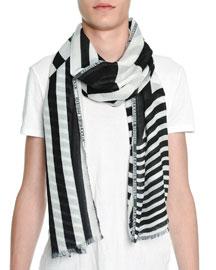 Dazzle Striped Scarf, Black/White