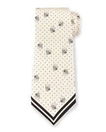 Skull & Pin-Dot Printed Silk Tie, Cream/Black