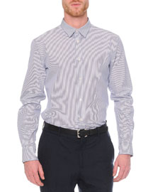 Striped Double-Collar Sport Shirt, Blue