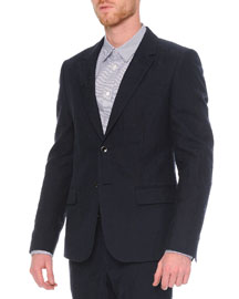 Worn Away Two-Button Cotton/Wool Jacket, Navy