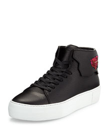90mm Leather Sneaker W/Sequined Feather, Black