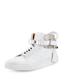 Men's 100mm High-Top Sneaker with Padlock, White