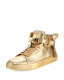 100mm Metallic High-Top Sneaker, Gold