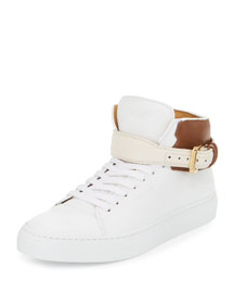 100mm Tassel Leather High-Top Sneaker, White/Brown