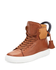 125mm High-Top Leather Sneaker with Padlock, Tan/Navy