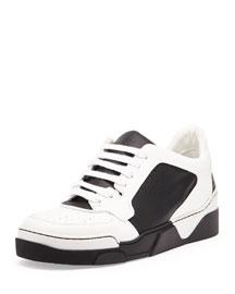 Tyson Leather Low-Top Sneaker, Black/White