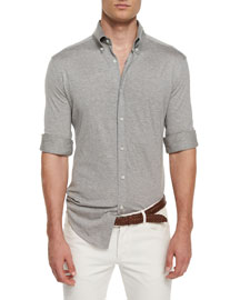 Long-Sleeve Pique-Knit Shirt, Charcoal