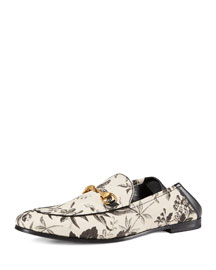 Herbarium-Print Leather Fold-Down Loafer, Black
