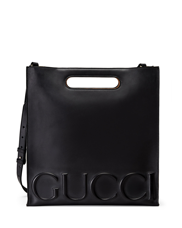Gucci Men's XL Leather Tote Bag, Black