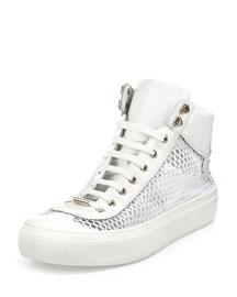 Argyle Men's Netted-Mesh Leather High-Top Sneaker, White