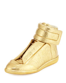 Future Men's Crinkled-Leather High-Top Sneaker, Gold