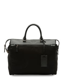 Leather & Nylon Horizontal Tote Bag, Black