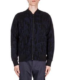 Textured Zip-Up Track Jacket, Black