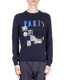 Paris Symbol-Print Crewneck Sweater, Navy