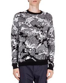 Cartoon Intarsia Printed Sweater, Black