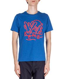 Dancing-Cactus Printed Short-Sleeve T-Shirt, Blue
