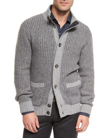 Melange Cashmere-Blend Button Sweater, Gray
