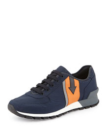 Arrow-Side Nylon Running Sneaker, Navy