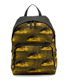 Car-Print Leather Backpack, Black/Yellow