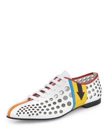 Runway Perforated Lace-Up Sneaker, White Multi