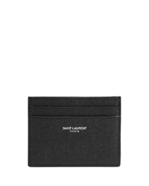 Pebbled Leather Classic Card Case, Black
