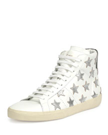 Leather High-Top Sneaker with Metallic Stars, White