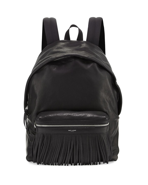 Saint Laurent Leather Backpack with Fringe Detail, Black