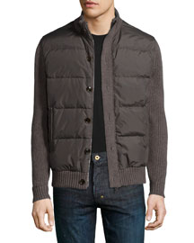 Cashmere-Sleeve Down Jacket, Brown