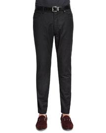 Five-Pocket Stretch-Wool Pants, Brown