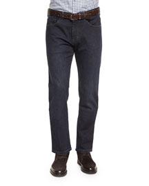 Five-Pocket Stretch Denim Jeans, Navy