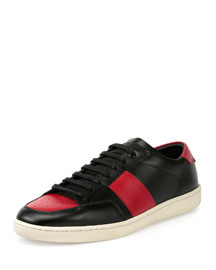 SL/10H Leather Low-Top Sneaker, Black/Red