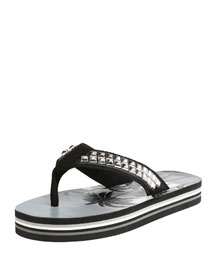 Studded Platform Flip-Flop Sandals, Black