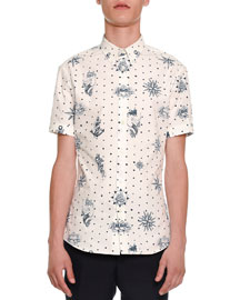 Tattoo-Print Short-Sleeve Shirt, White/Navy