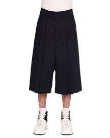 Pleated Wide-Leg Cropped Trouser, Navy