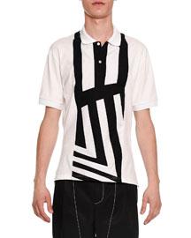 Center-Stripe Short-Sleeve Polo Shirt, White/Black