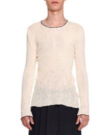 Distressed Crewneck Sweater, Ivory
