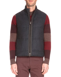 Leather-Placket Quilted Vest, Charcoal