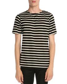 Striped Crewneck Short-Sleeve T-Shirt, Black/White