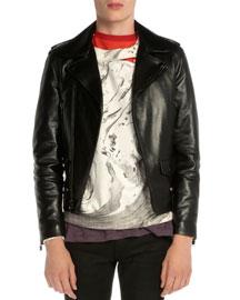 Asymmetrical-Zip Leather Moto Jacket, Black